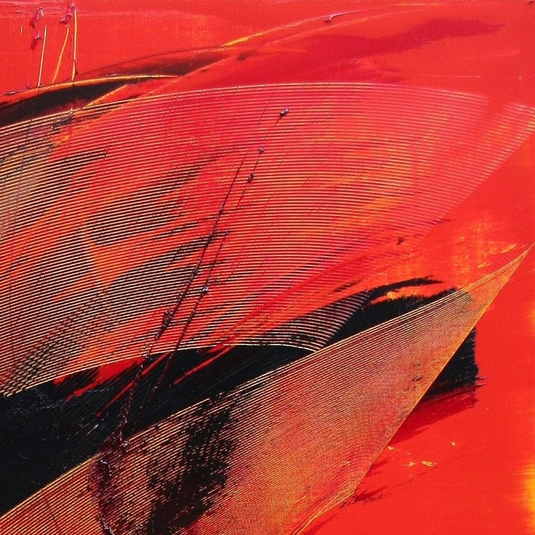 Black on Red Gestural Abstract Oil Painting 14