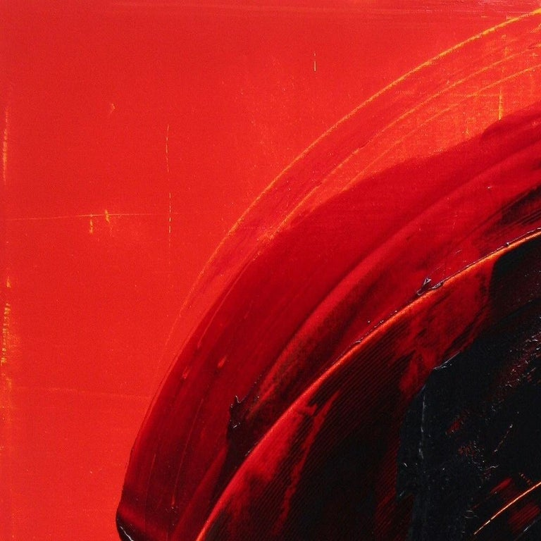 Black on Red Gestural Abstract Oil Painting 15