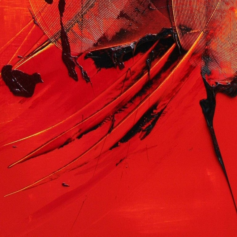 Black on Red Gestural Abstract Oil Painting 3
