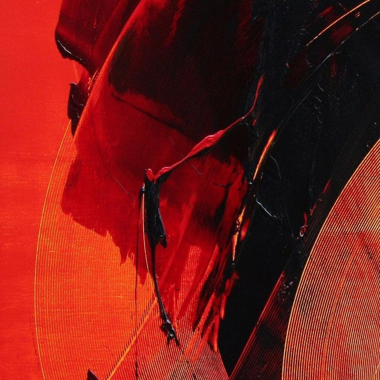 Black on Red Gestural Abstract Oil Painting 4