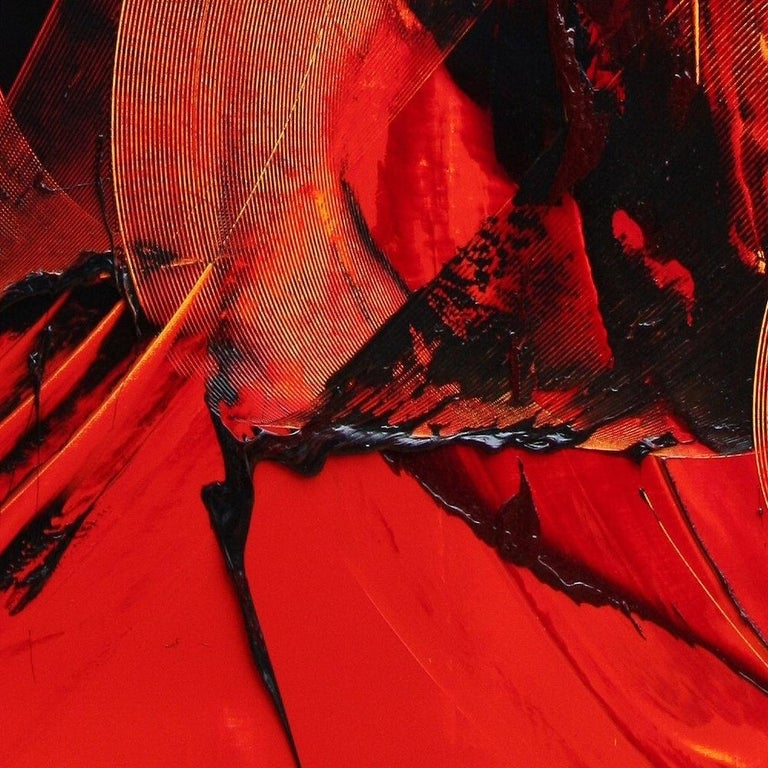 Black on Red Gestural Abstract Oil Painting 5