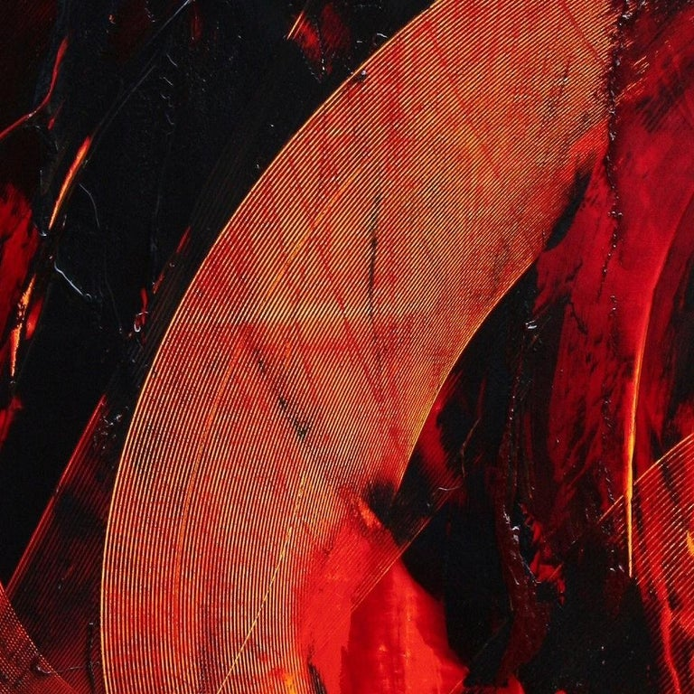 Black on Red Gestural Abstract Oil Painting 7