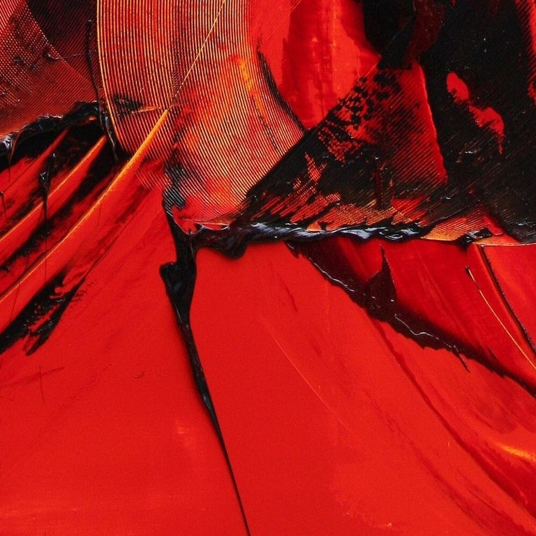 Black on Red Gestural Abstract Oil Painting 8