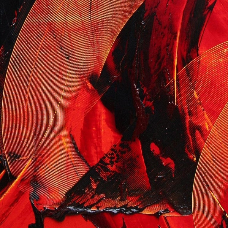 Black on Red Gestural Abstract Oil Painting 9