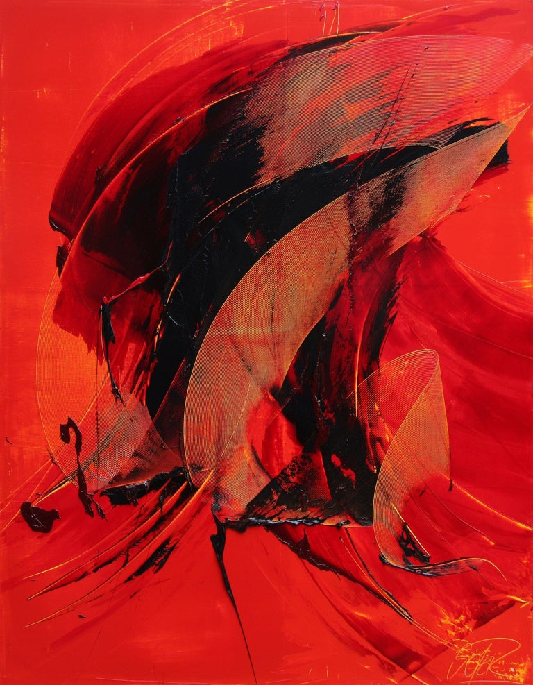 Black on Red Gestural Abstract Oil Painting 1