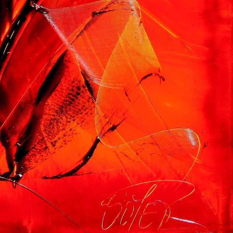 Black on Red with Vivid Yellow Tracks Squared Abstract Oil Painting 13