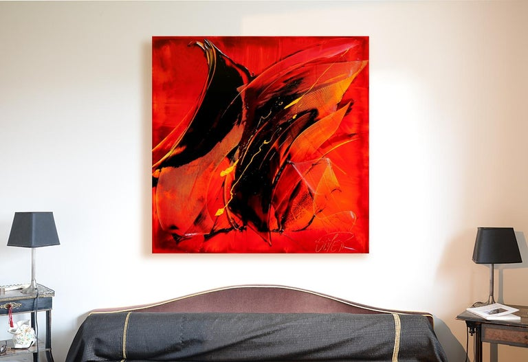 Black on Red with Vivid Yellow Tracks Squared Abstract Oil Painting 2