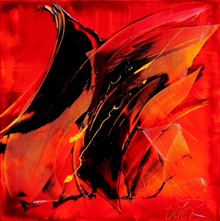 Black on Red with Vivid Yellow Tracks Squared Abstract Oil Painting 1