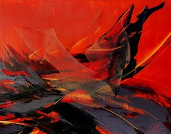 Black Yellow & Grey on Red Background Gestual Abstraction Oil Painting, Untitled