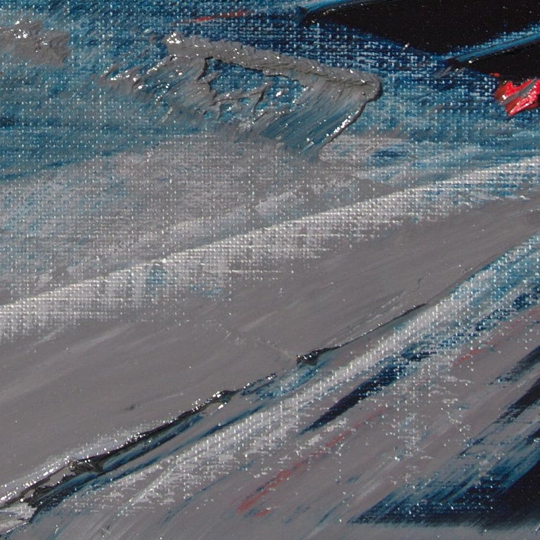 Blue, Grey and Red Abstract Squared Oil Painting, Untitled For Sale 7