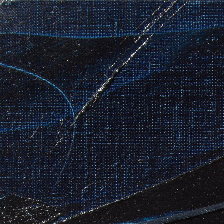 Blue, Grey and Red Abstract Squared Oil Painting, Untitled For Sale 13