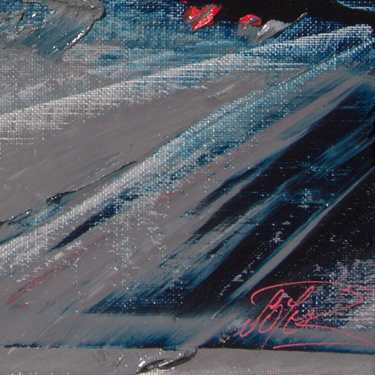 Blue, Grey and Red Abstract Squared Oil Painting, Untitled For Sale 15