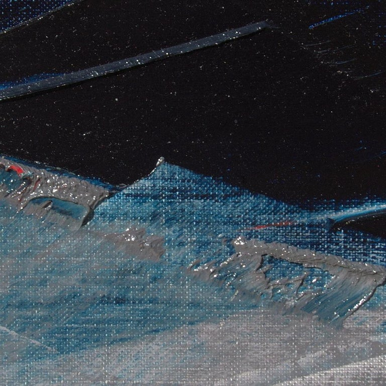 Blue, Grey and Red Abstract Squared Oil Painting, Untitled For Sale 3