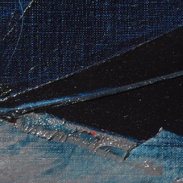 Blue, Grey and Red Abstract Squared Oil Painting, Untitled For Sale 4