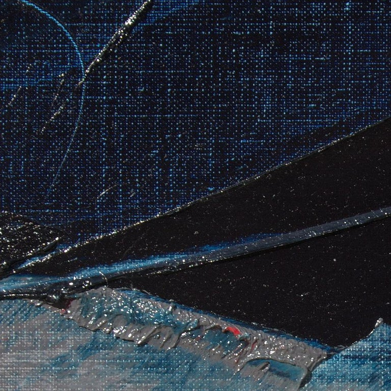 Blue, Grey and Red Abstract Squared Oil Painting, Untitled For Sale 5