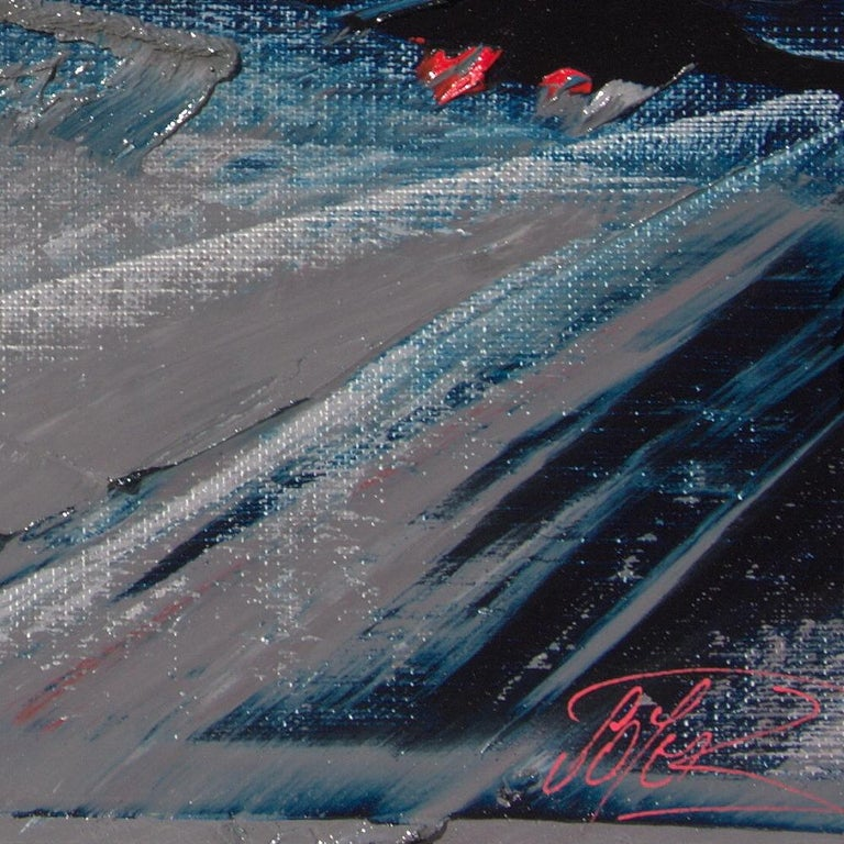 Blue, Grey and Red Abstract Squared Oil Painting, Untitled For Sale 6