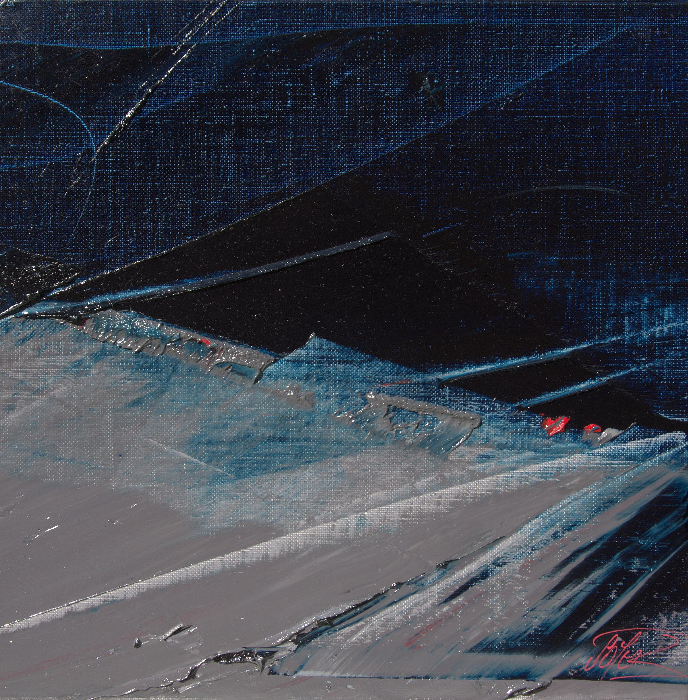 Blue, Grey and Red Abstract Squared Oil Painting, Untitled