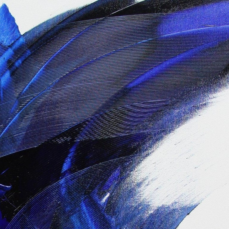 Blue on White Abstract Oil Painting 8