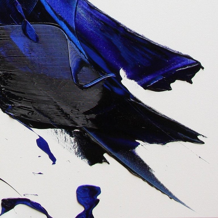 Blue on White Abstract Oil Painting 10