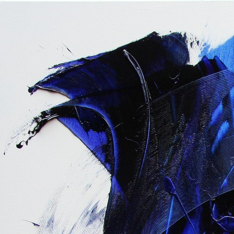 Blue on White Abstract Oil Painting 13
