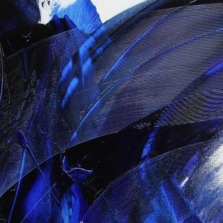 Blue on White Abstract Oil Painting 3