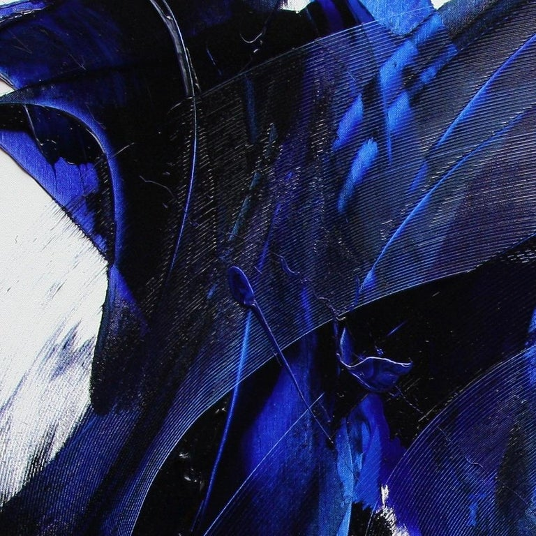 Blue on White Abstract Oil Painting 4