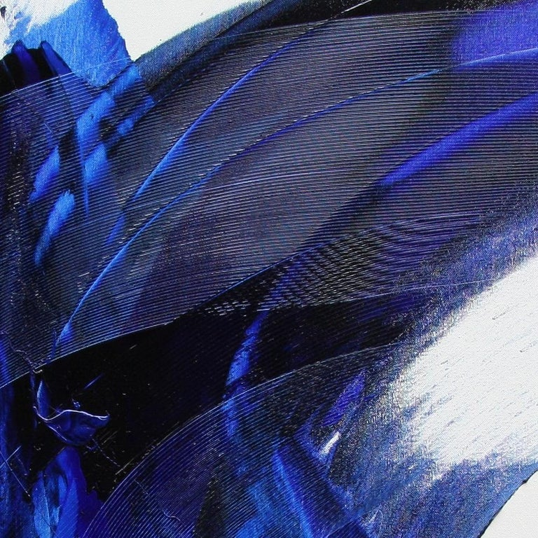 Blue on White Abstract Oil Painting 5
