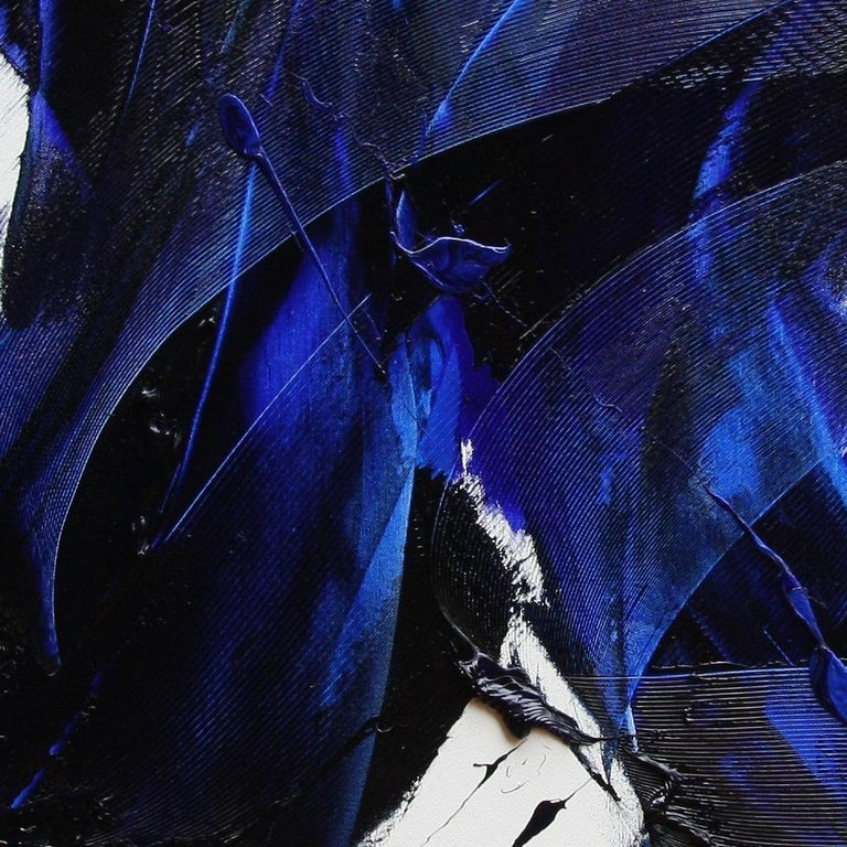 Blue on White Abstract Oil Painting 6