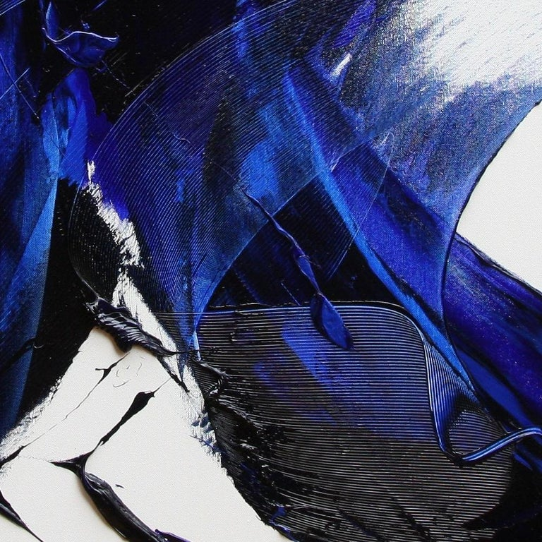 Blue on White Abstract Oil Painting 7