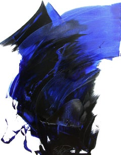 Blue on White Abstract Oil Painting