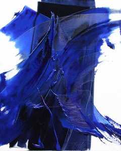 Collision of Two Blue Waves on White and Dark Background Abstract Oil Painting