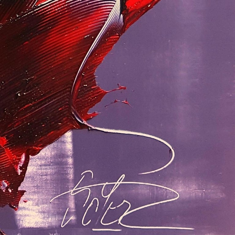 Cone Shaped Tornado Like Red and Purple Squared Abstract Oil Painting 8