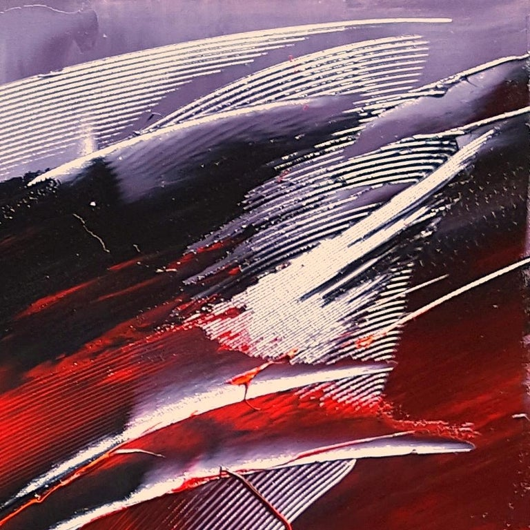 Cone Shaped Tornado Like Red and Purple Squared Abstract Oil Painting 10