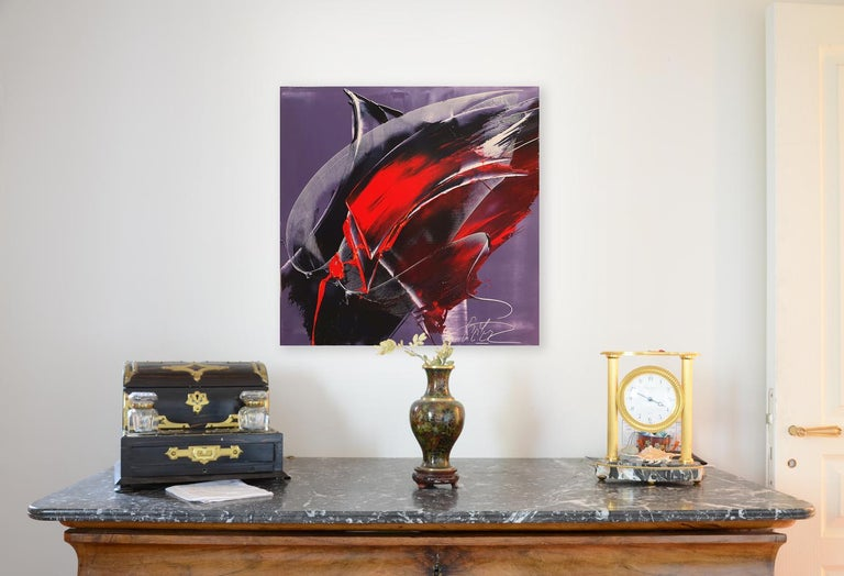 Cone Shaped Tornado Like Red and Purple Squared Abstract Oil Painting - Black Abstract Painting by Jean Soyer