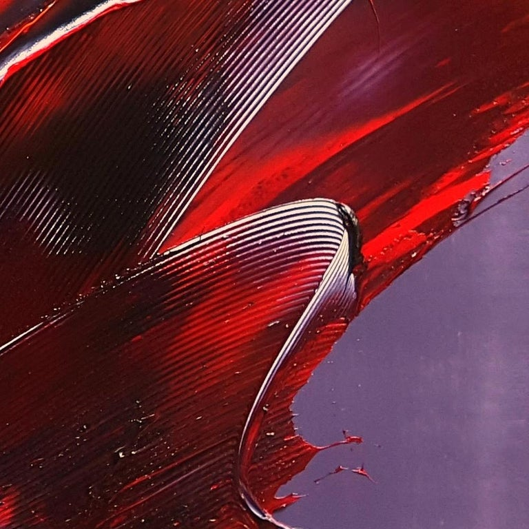 Cone Shaped Tornado Like Red and Purple Squared Abstract Oil Painting 3