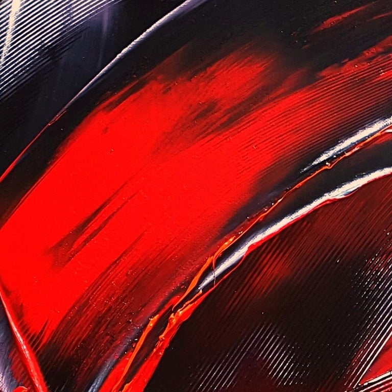 Cone Shaped Tornado Like Red and Purple Squared Abstract Oil Painting 5