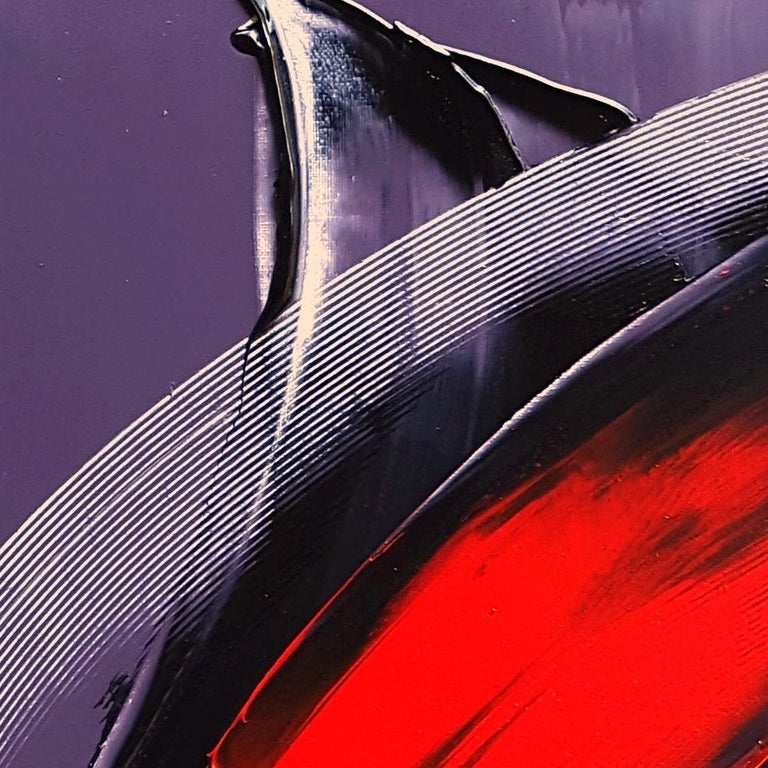 Cone Shaped Tornado Like Red and Purple Squared Abstract Oil Painting 6