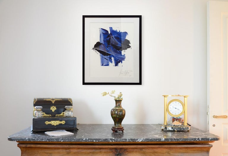 Dark and Blue on White Background Hashtag Shaped Abstract Fine Art Giclee Print - Gray Abstract Print by Jean Soyer
