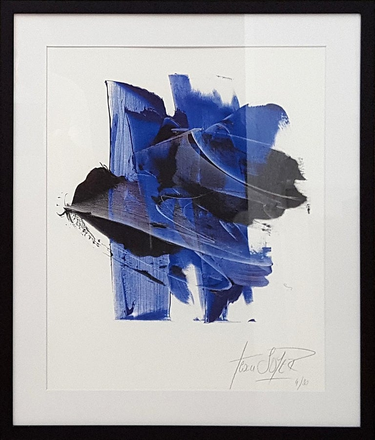 Jean Soyer Abstract Print - Dark and Blue on White Background Hashtag Shaped Abstract Fine Art Giclee Print