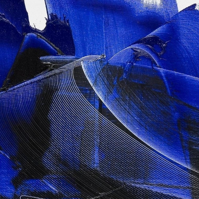 Dark and Blue on White Background Hashtag Shaped Squared Abstract Oil Painting 8