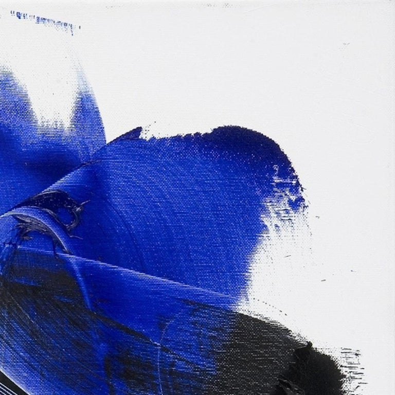 Dark and Blue on White Background Hashtag Shaped Squared Abstract Oil Painting 12