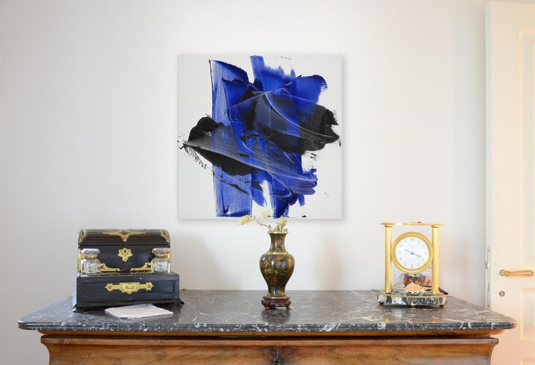 Dark and Blue on White Background Hashtag Shaped Squared Abstract Oil Painting - Purple Abstract Painting by Jean Soyer