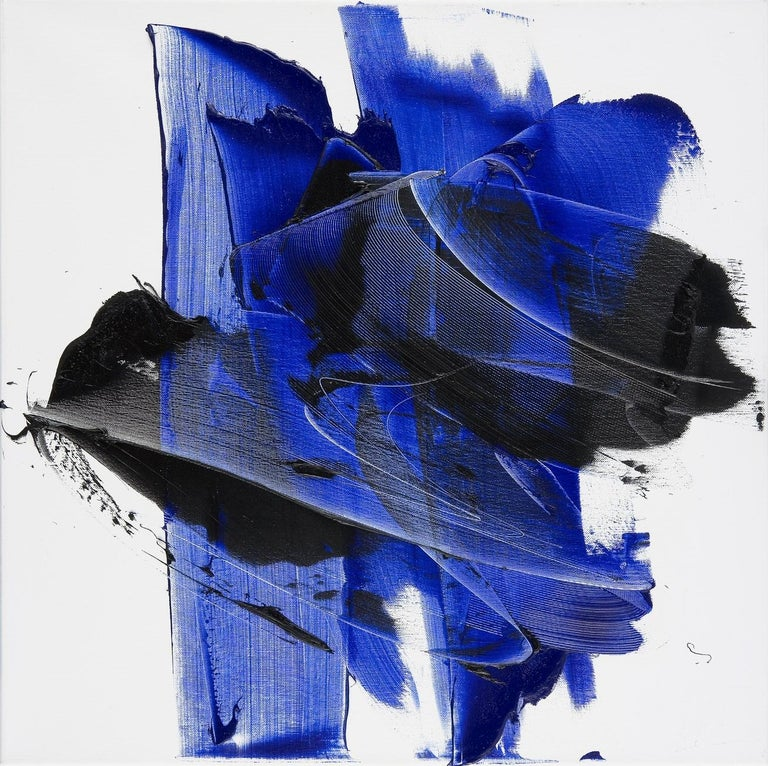 Jean Soyer Abstract Painting - Dark and Blue on White Background Hashtag Shaped Squared Abstract Oil Painting