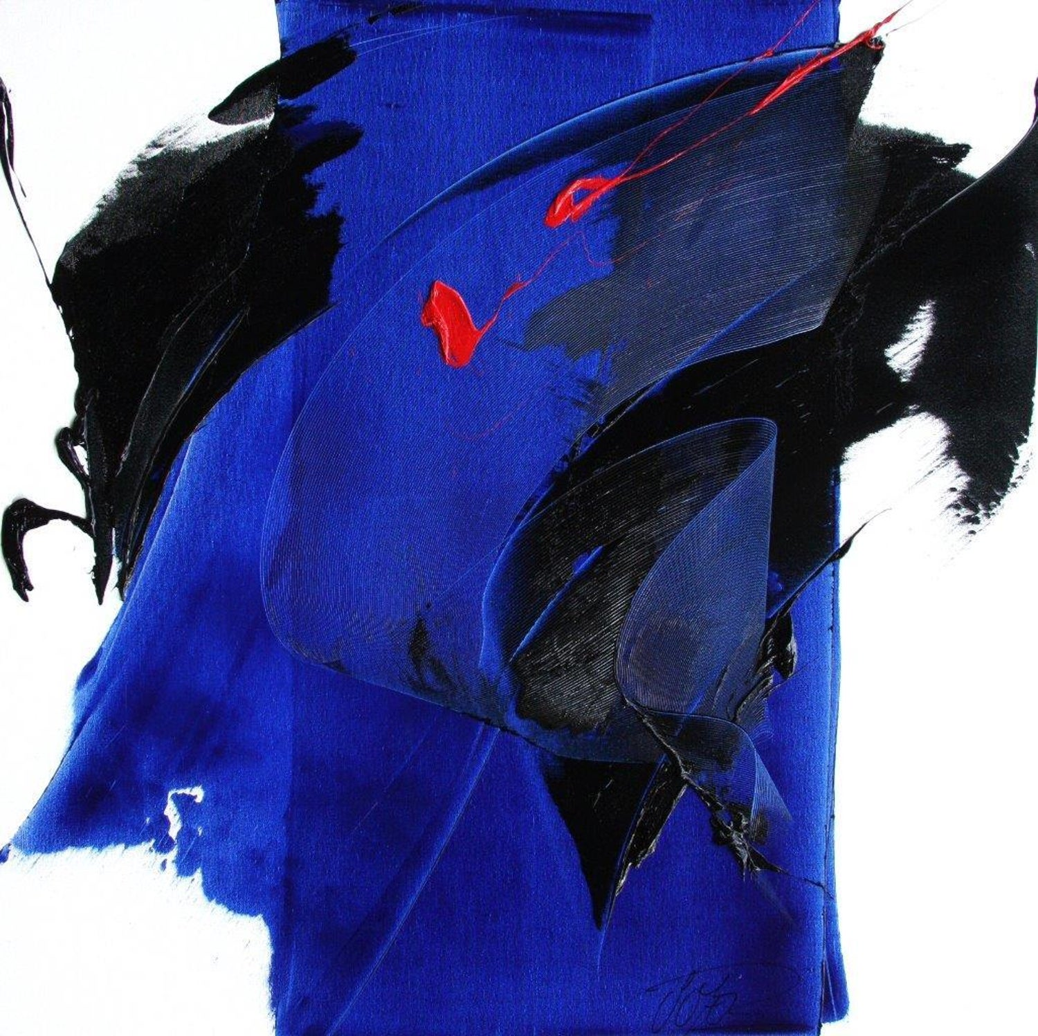 Dark And Blue With Red Touches On White Background Abstract Oil Painting