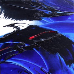 Dark Blue Wave with Red Touch on White Canvas Lyrical Abstract Oil Painting