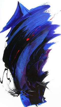 Large Ascending Black, Purple and Blue with Red Abstract Oil Painting, Untitled