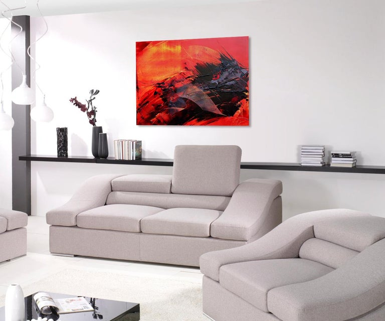 Large Black on Red and Yellow Background Abstract Painting For Sale 1