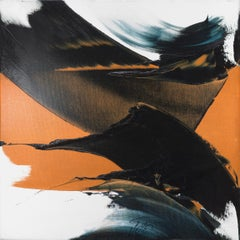 Large Dark Strokes on White & Orange Background Abstract Oil Painting, Untitled