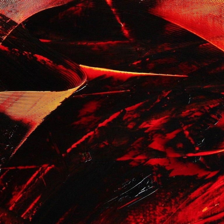 Large Luminescent Dark Red Swell on White Background Abstract Oil Painting For Sale 8