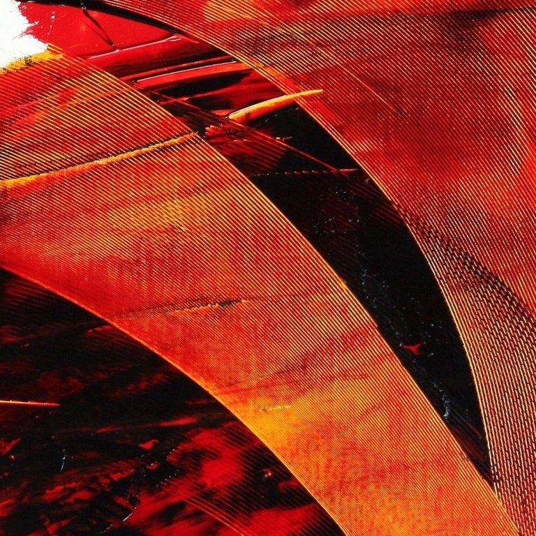 Large Luminescent Dark Red Swell on White Background Abstract Oil Painting For Sale 9